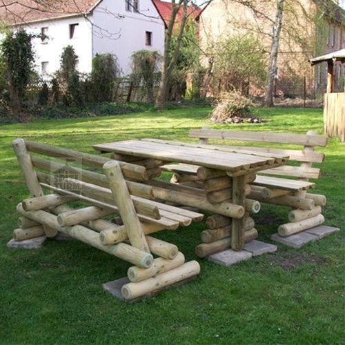 Sitzgruppe Rustikal Halbrundholz 120 - 300 cm
