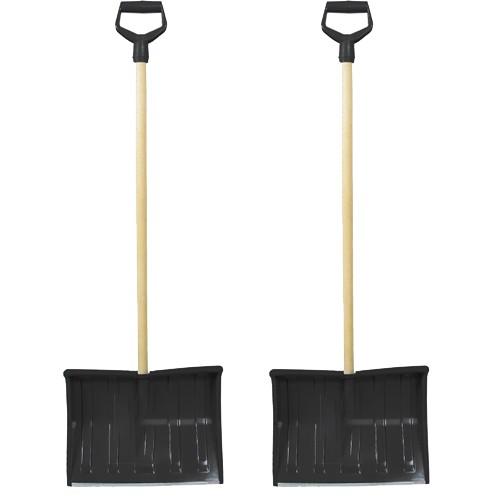 2 x Schneeschieber aus Kunststoff Schwarz