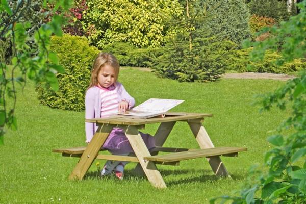 Kinderpicknicktisch / Sitzgruppe aus Kiefernholz 90x90x50cm