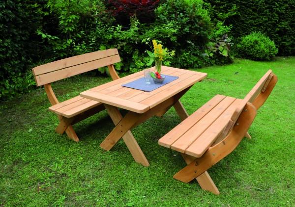 Holz-Garnitur München honigbraun 2 Bänke + 1 Tisch