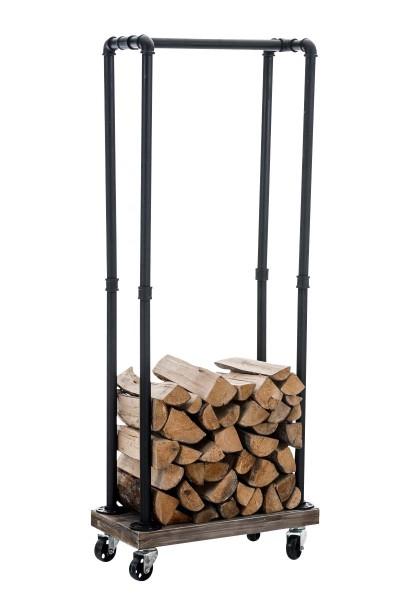 Exklusiver Kaminholzständer Forks mit Rollen 30 x 60 x150 cm