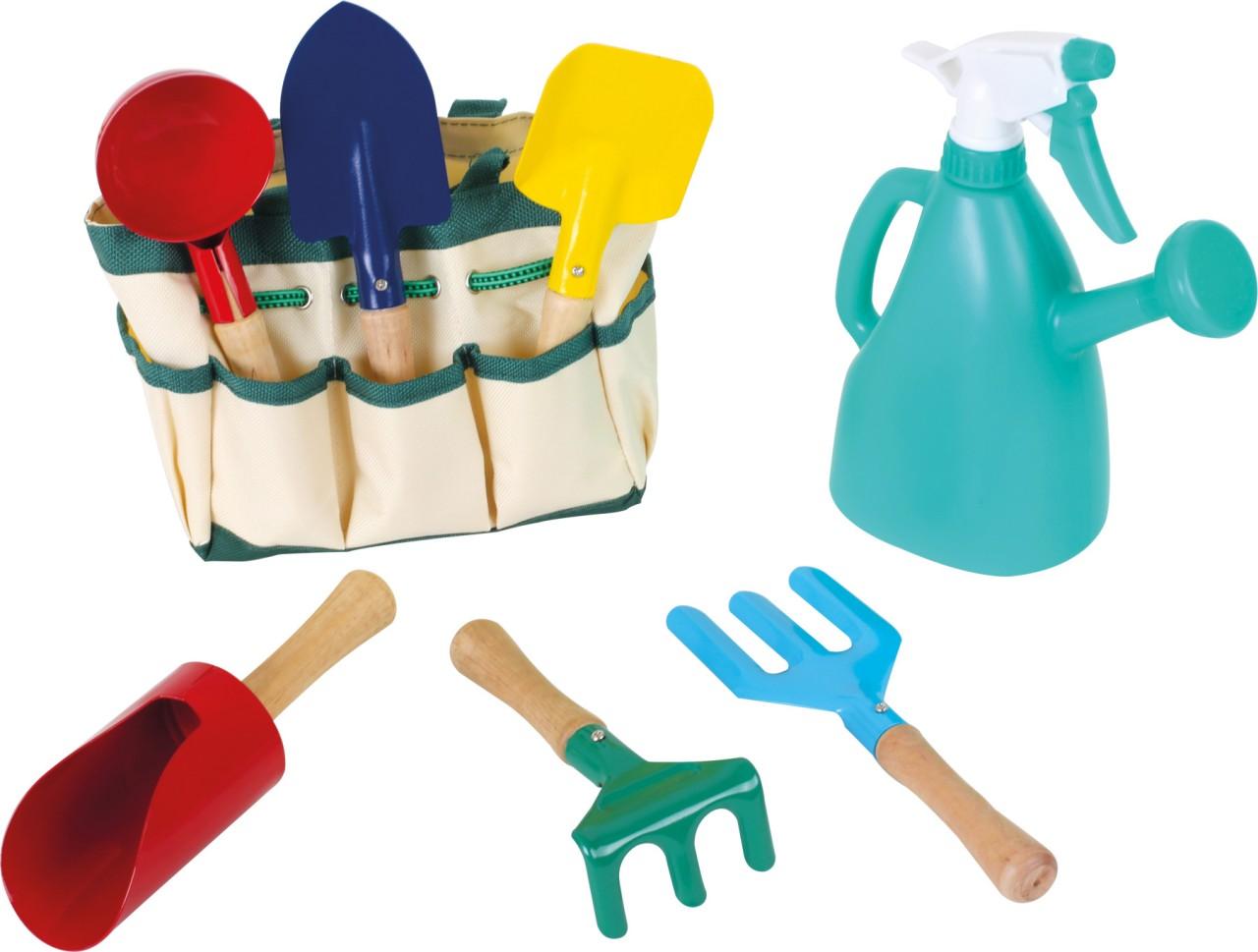 Garten-Tasche mit Gartengeräten und Gießkanne Set 7-tlg.