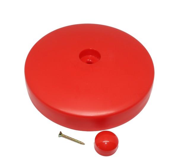 Set 2 x Kopfholzkappen Kunststoff Rot 120 mm rund
